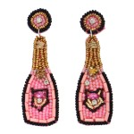 Wholesale seed Beaded Rhinestone Champagne Felt Statement Earrings Long
