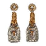 Wholesale seed Beaded Rhinestone Champagne Felt Statement Earrings Long