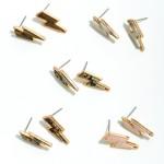 Wholesale natural Stone Lightning Bolt Stud Earrings Gold