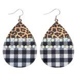 Wholesale metal Leopard Print Buffalo Check Teardrop Earrings Rhinestone Details