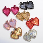 Wholesale rhinestone Sequin Felt Heart Statement Drop Earrings L W