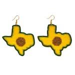 Wholesale beaded Avocado Texas State Felt Statement Drop Earrings L W
