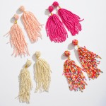 Wholesale seed Beaded Tassel Statement Drop Earrings
