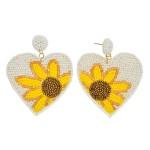 Wholesale seed Beaded Sunflower Felt Heart Statement Drop Earrings L W