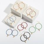 Wholesale beaded Cross Drop Earrings Gold