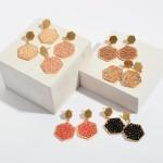 Wholesale beaded Hexagon Drop Earrings Gold