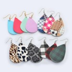 Wholesale faux Leather Buffalo Check Drop Earrings