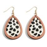 Wholesale wooden Animal Print Teardrop Earrings