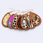 Wholesale wooden Snakeskin Teardrop Earrings