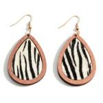 Wholesale wooden Zebra Print Teardrop Earrings