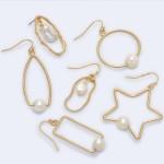 Wholesale triangular Drop Earrings Gold Ringed Pearl Detail Pearl mm