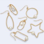 Wholesale rectangle Drop Earrings Gold Ringed Pearl Detail Pearl mm
