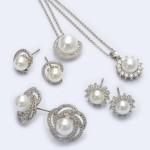 Wholesale rhodium Plated Cubic Zirconia Pearl Stud Earrings Pearl mm mm