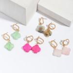 Wholesale semi Precious Clover Drop Earrings Gold