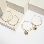 Wholesale ivory Pearl Beaded Wire Hoop Earrings Seashell Drop Accent Seashell