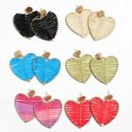 Wholesale raffia Wrapped Metal Heart Statement Drop Earrings L W
