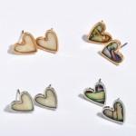 Wholesale mother Pearl Heart Stud Earrings Rhodium