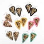 Wholesale metal Rhinestone Leopard Print Heart Statement Drop Earrings