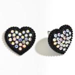 Wholesale metal Rhinestone Heart Stud Earrings