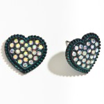 Wholesale metal Rhinestone Heart Stud Earrings