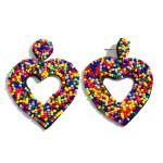 Wholesale seed Beaded Heart Cut Felt Statement Drop Earrings L W