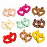 Wholesale seed Beaded Heart Cut Felt Statement Drop Earrings L W