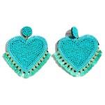 Wholesale seed Beaded Sequin Heart Felt Tassel Statement Drop Earrings L W
