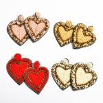 Wholesale seed Beaded Heart Felt Statement Drop Earrings L W