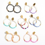 Wholesale faceted Rubber Heishi Beaded Drop Earrings Gold Accent L Diameter