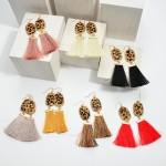 Wholesale genuine Leather Leopard Print Tassel Earrings