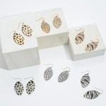 Wholesale shimmery Metal Animal Print Pointed Drop Earrings