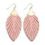 Wholesale faux Leather Feather Drop Earrings