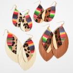 Wholesale faux Leather Leopard Print Serape Teardrop Earrings
