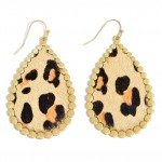 Wholesale faux Leather Leopard Print Teardrop Earring Gold Metal Trim