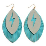 Wholesale faux Leather Feathered Tassel Lightning Bolt Statement Earrings