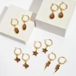 Wholesale leopard Print Glass Drop Hoop Earrings Gold Accent Hoop Diameter