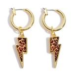 Wholesale leopard Print Lightning Bolt Hoop Earrings Gold Lightning Bolt Hoop Di