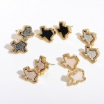 Wholesale texas State Druzy Stud Earrings Gold Rhinestone Trim Detail
