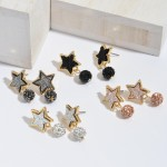Wholesale druzy Star Stud Earrings Rhinestone Drop Accent