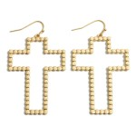 Wholesale metal Dotted Cross Drop Earrings