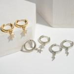 Wholesale dainty Pave Star Huggie Hoop Earrings Hoop Diameter