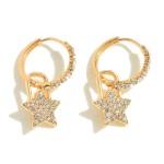 Wholesale pave Star Padlock Huggie Hoop Earrings Hoop Diameter