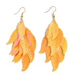 Wholesale plastic Feather Tier Statement Earrings