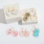 Wholesale natural Stone Heart Nested Drop Earrings Gold