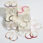 Wholesale semi Precious Beaded Drop Earrings Gold