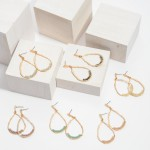 Wholesale inner Beaded Teardrop Earrings Gold