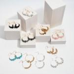 Wholesale semi Precious Beaded Drop Earrings Gold Beads mm