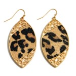 Wholesale metal Encased Faux Leather Animal Print Drop Earrings Gold