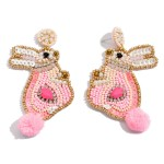 Wholesale seed Beaded Felt Pom Pom Bunny Statement Earrings