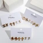 Wholesale pC Genuine Leather Leopard Print Texas State Cross Stud Earring Set P